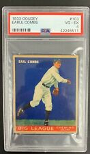 Earle Combs 1933 Goudey #103 VG PSA 4 Big League Chewing Gum