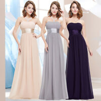 Ever Pretty UK Long Gray Strapless Ruffles Gown Bridesmaid Party Dresses 09955