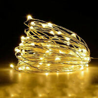 Timer LED Silver Fairy String Christmas Lights Outdoor 10M 100 led Battery Power
