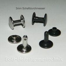 Hohlnieten 8 x 8 mm Eisen Doppelkappen Leder Nieten f/ür DIY Handwerk Reparaturen Dekoration 100pcs Bronze