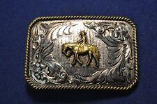 Lonestar Silversmith Pleasure Horse Silver Gold Border Western Belt Buckle #10
