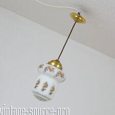edle alte Opalglas Messing Decken Hängelampe Rosendekor Art Dèco 30er Jahre TOP