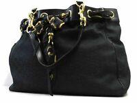 Gucci handbag GG Monogram Scarf Tote Hand bag Purse Black Shoulder Auth