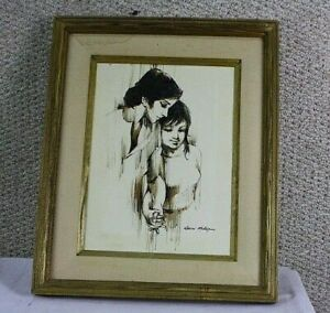 KEVIN MCALPIN MOTHER AND DAUGHTER SIGNED FRAMED PAINTING ON CANVAS