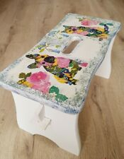 Small Pine Wood Step Stool Wooden Chair Shabby Chic hand  painted decoupage ,dog