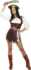Ladies Brown Piratess Pirate Fancy Dress Costume Outfit Size 12 - 14 P7973