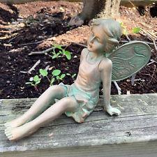 Vintage Resin Fairy Girl Angel Wings Outdoor Garden Decorative Ornament Statue