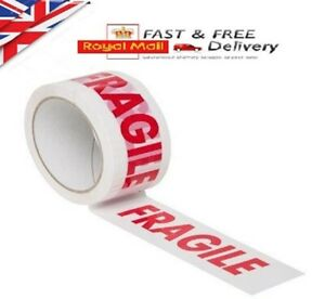 1X 48mm X 66m FRAGILE PRINTED STRONG PARCEL TAPE PACKAGING BIG ROLL LOW NOISE..