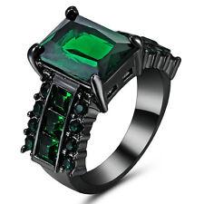 Vintage Emerald Green CZ Wedding Ring 10KT Black Gold Filled Women/Men's Size 7