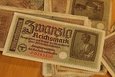 20 REICHSMARK NAZI GERMANY CURRENCY GERMAN BANKNOTE NOTE MONEY BILL SWASTIKA WW2