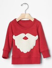 GAP Baby Boys NWT Size 6-12 Months Red Santa Claus Christmas Sweatshirt Sweater