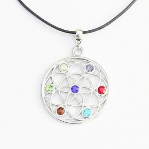 Flower of Life Pendant Chakra Necklace Round Silver Tone with Black Cord
