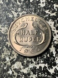 1960 Seychelles 1/2 Rupee Lot#Z7027 High Grade! Beautiful!