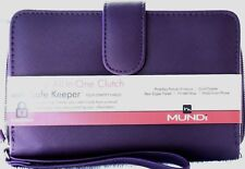 WALLET Mundi Women ALL IN ONE Faux Leather Cards RFID Ladies Clutch Purple I905X