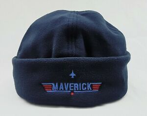 Maverick Navy Embroidered Micro Fleece Beanie / Hat Top Gun Red / Blue