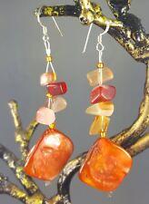 Carnelian & Orange Shell Hand Made Gemstone Drop Earrings 925 Solid Silver Hooks