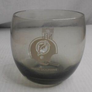 "Miami Dolphins 80's Smoked Glass 8 oz. Short Round Highball Glass3"" round"