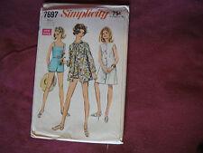Vintage Simplicity Pattern 7697 Miss Bathing Suit Cover Up 1968 Sz 16 Bust 38