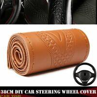 Brown 38cm DIY Genuine Leather Car Steering Wheel Cover Embossing Needles&Thread