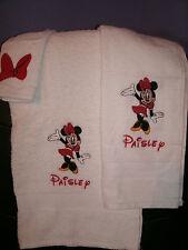 Minnie Mouse Waving Personalized 3 Piece Bath Towel Set Your Color Choice