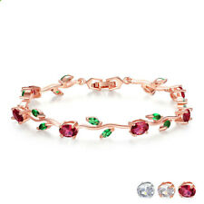 woman Fashion exquisite red green zircon rose gold leaf branch bracelet jewelry