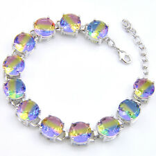 Holiday Gift Watermelon tourmaline Bi Colored Gems Silver Charming Bracelets