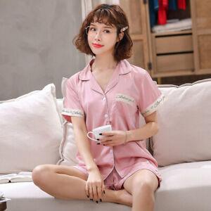 Mens Women Silk Satin Pajamas Pyjamas Short Set Sleepwear Loungewear Nightwear