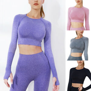 Seamless Knitting Long Sleeve Yoga Gym Crop Top for Women Shirts with Thumb Hole