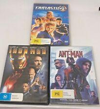 Lot Of 3 MARVEL Movies DVD - IRON MAN ANT MAN & FANTASTIC 4