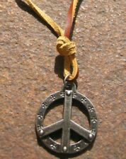 Peace Halskette Herren Hippie Surferkette  Vintage hellbraun Leder braun Kette
