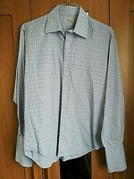 T M LEWIN LUXURY MENS BLUE WHITE CHECK SHIRT SIZE LARGE COLLAR 16 / 35 SLIM FIT