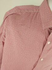 Mens Duchamp Gingham Check Polka Shirt Red 18 Collar 52 Chest Vgc