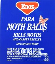 2x ENOZ PARA MOTH BALLS Paradichlorobenzene no clinging Odor 4 oz Carpet Beetles
