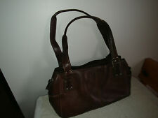 FOSSIL Brown Pebbled Leather 3 Pockets Openings Shoulder Handbag Purse