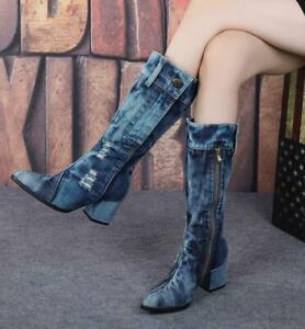 Womens Denim Mid Calf Boots Block Heels Button Party Shoes Vintage Jeans Boots