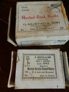 2 Boxes of Mustad Hooks Norway, 2/0 and 6/0 both nearly full