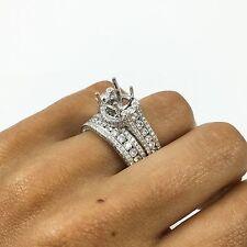 18K White Gold Round Diamond Semi Mount Engagement Ring Band Setting Bridal Set