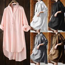 Women Plain 3/4 Sleeve Cotton Midi Dress Loose Button Down Shirt Dress PLUS SIZE