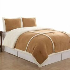 NorthCrest Micro Suede & Sherpa Camel Tan Twin Bed Comforter Set Reversible 2 Pc