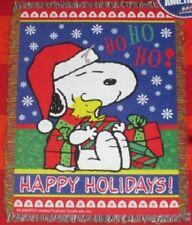 New Peanuts Santa Snoopy Gift Tapestry Throw Blanket Woodstock Christmas Present