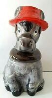"Donkey Cookie Jar Vintage California Original Gray Red Hat Ceramic 11.5"""
