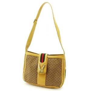 Gucci micro Guccissima print bucket bag w red/green stripe & equestrian accents!