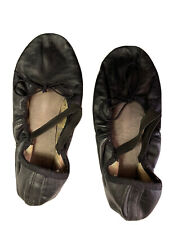 Black Womens Dance Shoes Leather Upper Leather Sole Size 9 1/2  Thailand