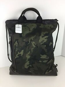 COACH F76784 Terrain Drawstring Backpack Book Bag Canvas Leather Ink Camo NWT