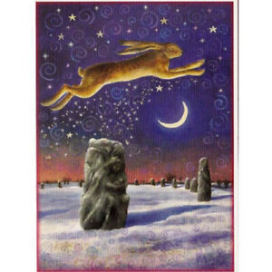 YULE CHRISTMAS GREETING CARD Winter Solstice Magick HARE PAGAN WENDY ANDREW