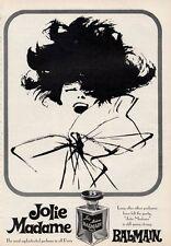 1966 Jolie Madame Balmain  Perfume Vintage Bottle PRINT AD