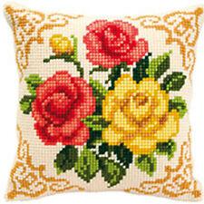 Tre fiori: varvaco trama grossa Cuscino Punto Croce Kit - 1200 \ 613