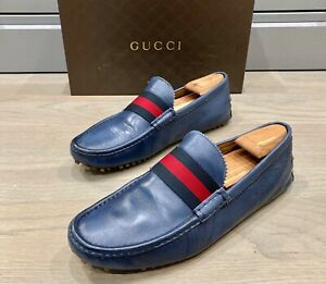 Gucci Men's Blue Driving Loafers / Moccasins size 11.5 G  = US 12.5 *Authentic*
