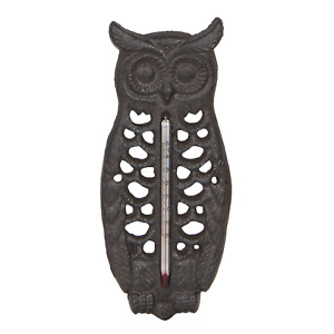Cast Iron Brown Owl Thermometer Temperature Gauge