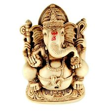 "GANESH STATUE 4.5"" White Resin Ganesha Hindu Elephant God Sitting Indian Deity"